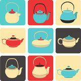 Vector collection of color silhouette teapot icons. Vector set of color silhouettes teapots icons Stock Image