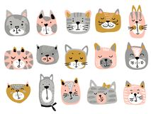 Vector collection of colorful cat faces. Funny illustration for children vector illustration