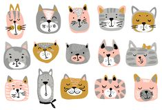 Vector collection of colorful cat faces. Funny illustration for children stock illustration