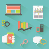 Vector collection of colorful flat business and finance icons with long shadow. Design elements for mobile and web applications Stock Photos