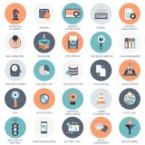 Vector collection of colorful flat search engine optimization, business, technology and finances icons. Design elements for mobile and web applications stock illustration