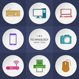 Vector collection of colorful flat technology. Stock Photography