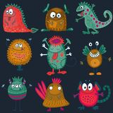 Vector collection of colorful funny monsters. Cute characters. royalty free illustration