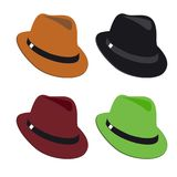 Vector collection of colorful hats for men. On plain white background Stock Photo