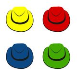 Vector collection of colorful hats for men. On plain white background Royalty Free Stock Photo