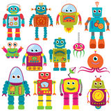 Vector Collection of Colorful Retro Robots. Vector Collection of Colorful Retro Style Robots Stock Image