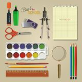Vector Collection of colorful School Supplies. Royalty Free Stock Photos