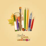 Vector Collection of colorful School Supplies in Royalty Free Stock Photos