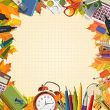 Vector Collection of colorful School Supplies in Stock Photo