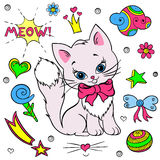 Vector collection of colorful stickers for girls. Kitty, flowers, bows, ball, stars, speech, hearth, clouds. Stock Photos