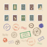 Vector collection of colorful vintage post stamps Stock Images