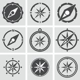 collection of compass icons on gray background. vector  Royalty Free Stock Image