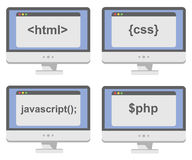 Vector collection of computer screens  with web Stock Image