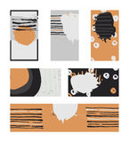 Vector collection of contrast colored business vertical and horizontal cards and banner hand drawn with liquid ink and brush, with Stock Image