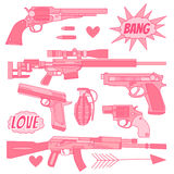 Vector collection with cool icon on a white background. The weapon set in pink color: grenade, shotgun, pistol, rifle, machine gun, bullet, revolver, and design Stock Photo