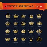 Vector collection of creative king, queen, princess, pope crowns. Symbols or logo elements. Set of Geometric vintage crown Royalty Free Stock Photography