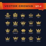 Vector collection of creative king, queen, princess, pope crowns. Symbols or logo elements. Set of Geometric vintage crown Stock Image