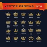 Vector collection of creative king, queen, princess, pope crowns. Symbols or logo elements. Set of Geometric vintage crown Stock Photo
