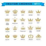 Vector collection of creative king, queen, princess, pope crowns. Symbols or logo elements. Set of Geometric vintage crown Royalty Free Stock Photo