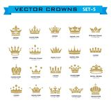 Vector collection of creative king, queen, princess, pope crowns. Symbols or logo elements. Set of Geometric vintage crown Stock Images