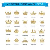 Vector collection of creative king, queen, princess, pope crowns. Symbols or logo elements. Set of Geometric vintage crown Stock Photos