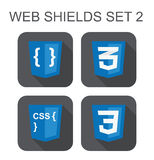 Vector collection of css web development shield signs: css3, sty