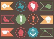 Vector Collection of Culinary, Cooking and Food Related Icons Royalty Free Stock Image