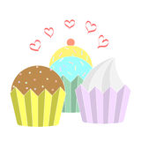 Vector collection cupcake icons Stock Photography