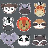 Vector collection of cute african animal faces, big icon set for baby design royalty free illustration