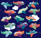 Vector Collection of Cute Airplanes or Airplane Toys. In the Sky Royalty Free Stock Photo