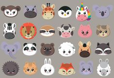Vector collection of cute animal faces, big icon set for baby design vector illustration