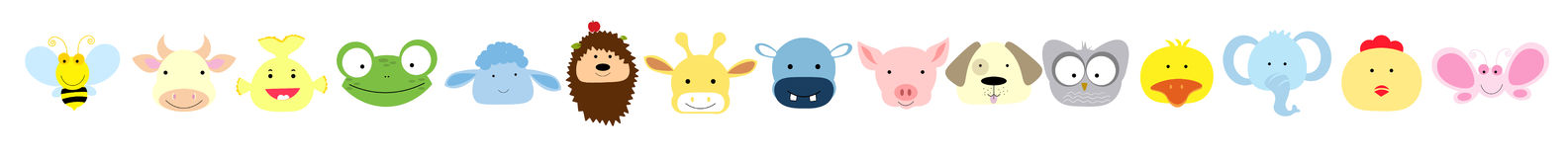 Vector Collection of Cute Animal Faces royalty free stock photo