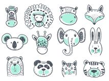 Vector collection of cute animal heads royalty free illustration