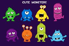 Vector collection of cute cartoon monsters, colorful and funny bacteria characters royalty free illustration
