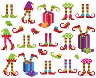 Vector Collection of Cute Christmas Holiday Elf Feet vector illustration