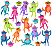 Vector Collection of Cute and Colorful Sock Monkeys Stock Photography