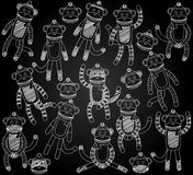 Vector Collection of Cute Doodle Chalkboard Sock Monkeys Royalty Free Stock Photography