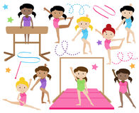 Vector Collection of Cute Female Gymnasts or Dancers Royalty Free Stock Photo