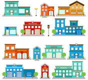 Vector Collection of Cute Fire Station Buildings, Hospitals and Clinics, and Police Stations. Stock Photography