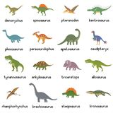 Vector collection of cute flat dinosaurs, including T-rex, Stegosaurus, Velociraptor, Pterodactyl, Brachiosaurus and. Triceratop, isolated on white Stock Photography