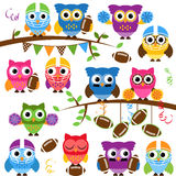 Vector Collection of Cute Football or Sports Themed Owls Royalty Free Stock Photo
