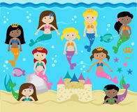 Vector Collection of Cute Mermaids Stock Photos