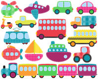 Vector Collection of Cute Patchwork Style Transportation Images Royalty Free Stock Photography
