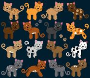 Vector Collection of Cute and Playful Cats Royalty Free Stock Image