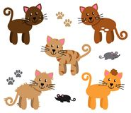 Vector Collection of Cute and Playful Cats Stock Images