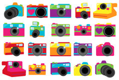 Vector Collection of Cute Retro Cameras Stock Images