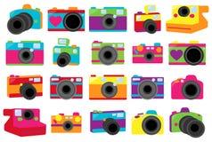 Vector Collection of Cute Retro Cameras. Vector Collection of Cute Retro or Vintage Cameras Stock Images
