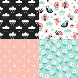 Cute set of patterns with cartoon bugs and garden elements - blu stock illustration