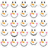 Vector Collection of Cute Snowman Faces Royalty Free Stock Photo
