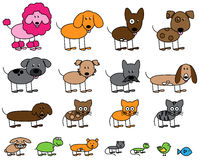 Vector Collection of Cute Stick Figure Pets Stock Photo